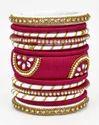Pink and Golden Silk Thread Bangle