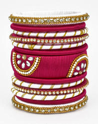 Pink and Golden Silk Thread Bangle