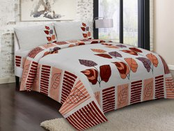 Leaf Printed Cotton Double Bedsheets