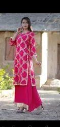 Ladies Pink Designer Palazzo Suit