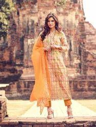 Multicolor Salwar Kameez in Cambric