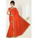 Megharaj Orange Lycra Silk Saree, Length: 6.3 m