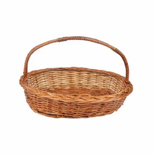 Brown Cane Oval Hamper Basket