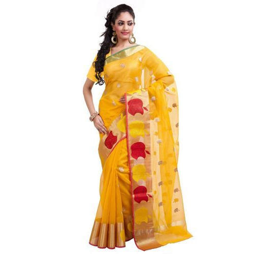 7103797b48 Yellow, Red And Golden Party Wear Kota Doria Saree, One Blouse Piece ...