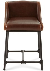 Industrial Fair Field Leather Bar Stool, Cafe Furniture