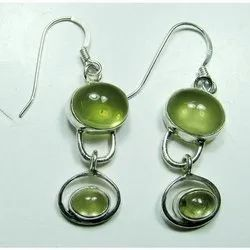 925 Sterling Silver Green Onyx High End Furnished Earrings