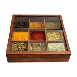 Brown Wooden Spice Box