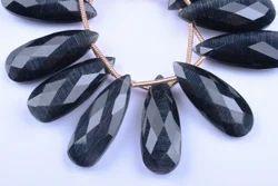 Black Fire Opal Cats Eye Pear Beads