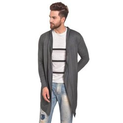 Pause Grey Solid Cotton Shawl Collar Slim Fit Full Sleeve Mens Knitted Shrug