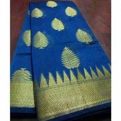 5.5 m (separate blouse piece) Party Wear Banarasi Pure Cotton Saree, Packaging Type: Packet