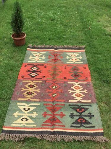 Wool Kilim Rug Traditional Jute Unique