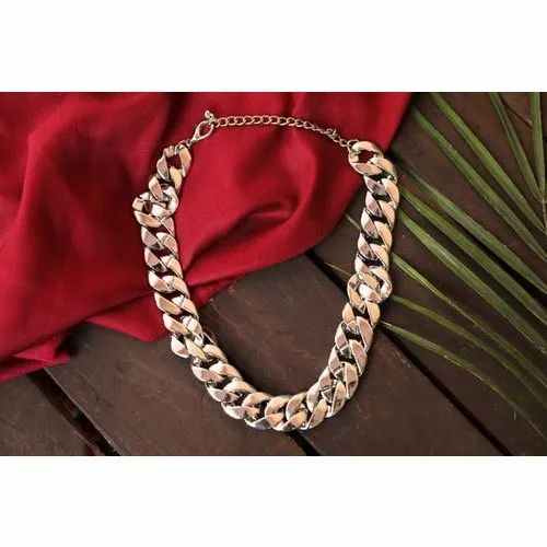 SilverLeaf Party Wear Ladies Rose Gold Plated Brass Necklace