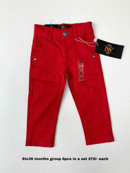 Red Cotton Kids Jeans, Age: 6-36 Months