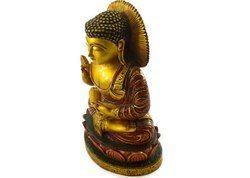 Handmade Kadam Wood Figure Of Buddha With Pure Gold Work