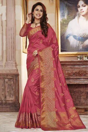 6e98f39372 Wedding Sarees - Pink Colour Party Wear Tussar Silk Saree Ecommerce ...