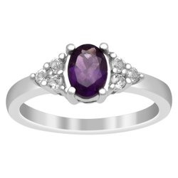 Solitaire Accents 925 Sterling Silver 1.00 Ctw Amethyst Gemstone Women Ring
