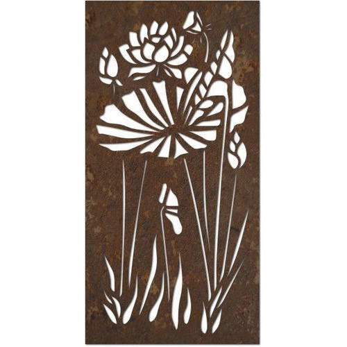 Brown Flower Design Laser Cutting Iron Door | ID: 19836155588