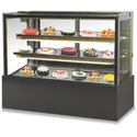 Flat Glass Cold Showcase With Black Marble Base