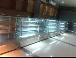Grey Glass, Stainless Steel Display Counter, for Restaurant, Warranty: 3 Year
