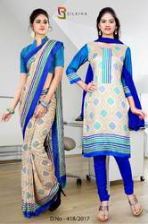 Blue and Golden Italian Crepe Uniform Saree Kurti Combo
