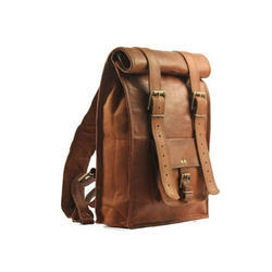 Brown Unisex Roll Top Leather Bag, Pure Leather(Y/N): Yes