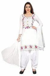 Unstitched Ladies White Cotton Suit, Machine wash