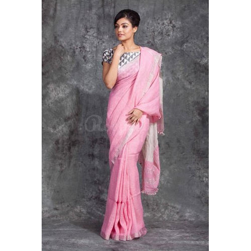 f735c14bb86f8c Organic Linen Light Pink Saree With Silver Border, Rs 3850 /piece ...