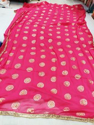 Multi Color Goldy Saree Chiffon
