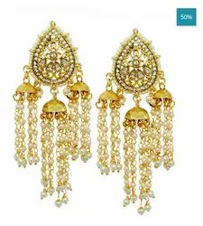 Traditional Stylish Gold Plated Pearl Fancy Jhumka