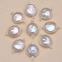 Natural White Pearl 925 Silver Round Gemstone Bezel Connectors