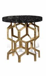 Black Agate Brass Coffee Table