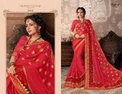 Fancy Ethnic  Pink Party Wear Sarees