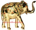 Nirmala Handicrafts Brass Elephant Statue Handmade Multi Color Stone Work Sculpture