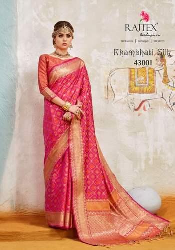 12a3709558b82 Patola Silk Rajtex Khambhati Wholesale Saree