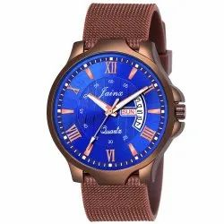 Jainx Brown Mesh Band Day and Date Function Analog Watch for Men's - JM371