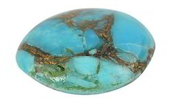 Blue Turquoise Oval Glass Gemstone