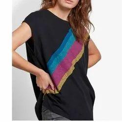 Half Sleeve Round Ladies Black Cotton T Shirt
