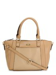 Yelloe Tan Synthetic Leather Handbag with punch effect in fr