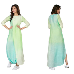 Ladies Linen Georgette Indo Western Gown, Size: XS - XL