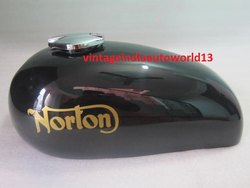 New Norton Hi-Rider Black Painted Steel Gas Fuel Petrol Tank With Fuel Cap (Reproduction) (1)