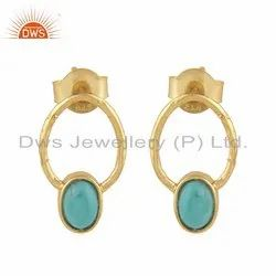 Designer Gold Plated 925 Silver Arizona Turquoise Earrings