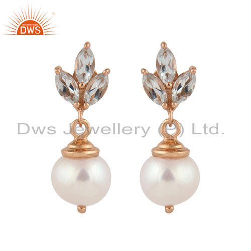 Blue Topaz  Pearl Designer Rose Gold Plated Silver Drop Earring Supplier