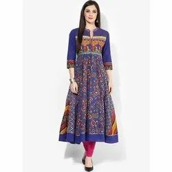 Churidar Ladies Cotton Anarkali Suit, Handwash