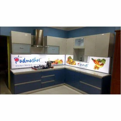 Wooden Trendy L Shape Modular Kitchen, Kitchen Cabinets