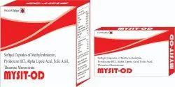 Softgel Capsules Of Methylcobalamin Pyridoxine HCI Alpha Lipoic Acid Folic Acid Thiamine Mononitrate