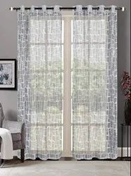 52 x 90 inch Square Lace Metallic Grey Sheer Curtain
