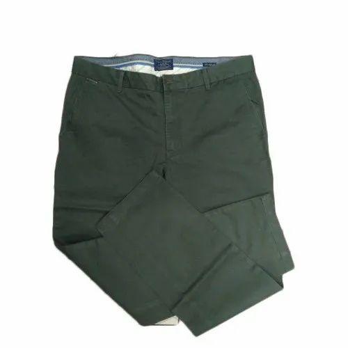 Casual Wear Green Men Plain Formal Trouser