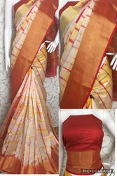 Riva Enterprise Women's Cotton Silk Real Hand Printed Saree