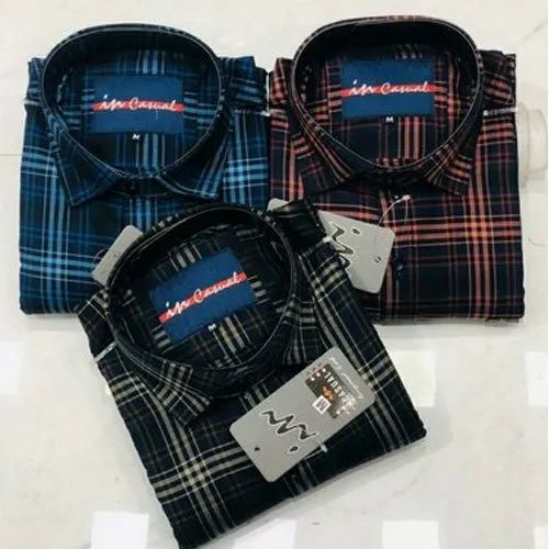 Mens Casual Wear Check Shirt, Machine and Hand Wash