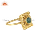 Yellow Gold Plated Silver Natural Emerald Gemstone Rings